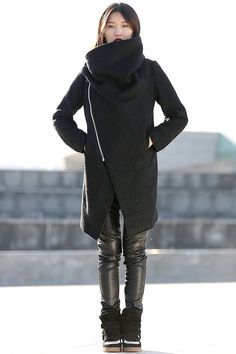 Black Winter Coat with Large Cowl Neck and Zipper - Modern Women Ladies Asymmetrical Coat C162 by YL1dress on Etsy https://www.etsy.com/listing/95952948/black-winter-coat-with-large-cowl-neck