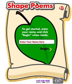 National Poetry Month: Create a Shape (Concrete) Poem with this easy website.