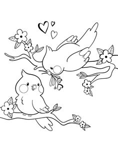 Valentine's Day birds to draw Blessed Valentine's Day considered one of my favorite cases to share with my family and trusted personal friends, Particularl Art Drawings For Kids, Bird Drawings, Pencil Art Drawings, Art Drawings Sketches, Animal Drawings, Easy Drawings, Cute Coloring Pages, Doodle Coloring, Animal Coloring Pages