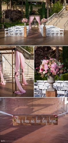 Blush and cream chiffon draped arbor a hotel wedding ceremony with roses and peonies | KMH Photography | Green Valley Ranch Wedding | Las Vegas Wedding Photographer