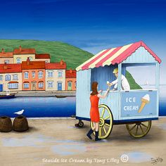 Seaside Ice Cream - Trad-Digital painting by Tony Lilley. Drawn in pencil on paper and then painted digitally in Photoshop. X Limited Edition of 50 Fine Art Prints. Best Fashion Schools, Pencil Drawings, Seaside, Digital Art, Fine Art Prints, Ice Cream, Photoshop, Canvas, Artist