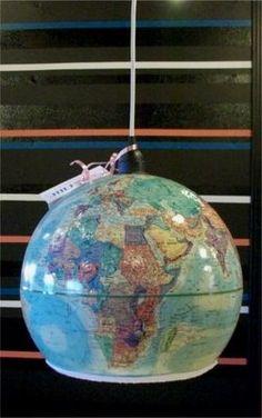 Globe turned pendant lamp
