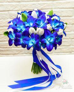 Orchid bouquet Blue Bridal bouquet Clay Wedding bouquet