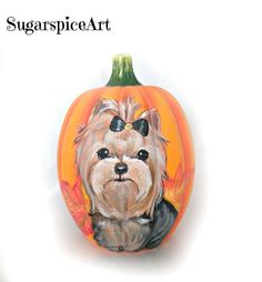 Yorkie Hand Painted Ceramic Autumn Halloween Pumpkin Home Decor SugarspiceArt