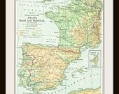 1925 FRANCE, SPAIN & PORTUGAL  Antique Map - Buy 3 Maps, Get 1 Free