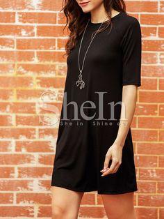 #SheIn - #SheIn Elbow Sleeve Casual Dress - AdoreWe.com