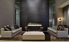 fireplace in leasing lobby