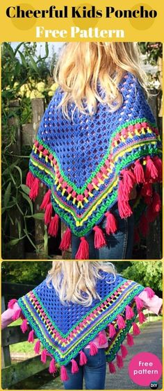 Crochet Cheerful Kids Poncho Free Patterns - Crochet Kids Capes & Poncho Free Patterns Crochet Kids Capes & Poncho Free Patterns Instructions: baby and Kids capes, kids poncho for Spring, Autumn Poncho Season Tutorials Crochet Baby Poncho, Crochet Cape, Crochet Poncho Patterns, Baby Girl Crochet, Crochet For Kids, Free Crochet, Irish Crochet, Crochet Children, Crochet Vests