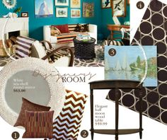 Designer Room on a Budget: Brown and Turquoise