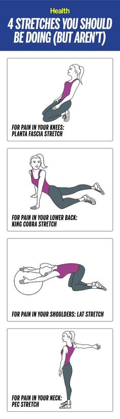 4 stretches you should be doing (but aren't): Did you know your neck crick or shoulder ache may actually mean you're tight somewhere else? Troubleshoot your sore spots and work out the real pain points in just a few minutes a day. | http://Health.com