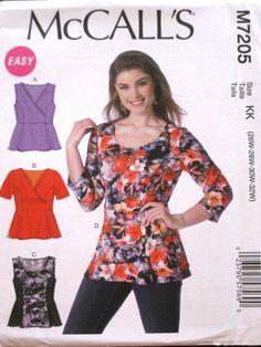 McCalls Womens PLUS Pullover Top Princess Seam Tunic Pattern 7205 M7205 26W-32W