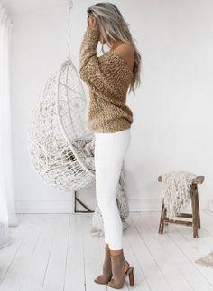 Women's Fashion off Shoulder Long Sleeve Loose Fit Knit Sweater novashe.com