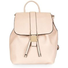 Women's Topshop Mini Glasgow Faux Leather Backpack (110 SAR) ❤ liked on Polyvore featuring bags, backpacks, backpack, camel, mini backpack, pink backpack, faux leather backpack, day pack backpack and mini rucksack