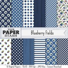 Blueberry Digital Paper Berry Berries Backgrounds Blue