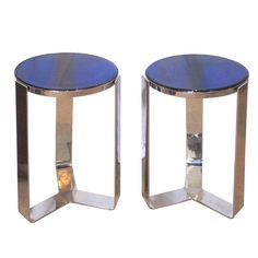 France  circa 1940  Pair of Gorgeous Nickel Plated Bronze Art Deco Side Tables with Stunning Cobalt Blue Glass Tops.
