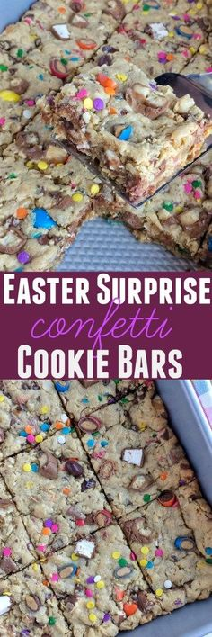 Soft cookie bars loaded with peanut butter, oats, chocolate chips, and candy bars! Plus confetti springtime sprinkles that are perfect for Easter #ad #collectivebias #SpringMoments /samsclub/