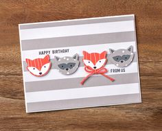 The Foxy Friends designer series paper stack features fun patterns and textures that pair so well with the Fox Builder punch to make adorable little critters like these woodland friends. #stampinup
