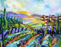 Italy Landscape Original Oil Painting textural by ElainesHeartsong