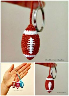 Crochet Keychain – 15 Free Crochet Patterns - Daily Sports News & Live Stream Fotball Channel Crochet Applique Patterns Free, Crochet Keychain Pattern, Crochet Bookmarks, American Football, Crochet Football, Tsumtsum, Quick Crochet, Craft Show Ideas, Yarn Crafts