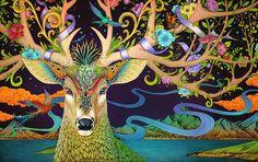 春鹿 Rlon Wang Illustration of Spring Deer Art And Illustration, Illustrations, Deer Art, Moose Art, Fantasy Kunst, Fantasy Art, Art Asiatique, Mythical Creatures, Spirit Animal