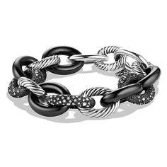 David Yurman Midnight Mélange Oval Large Link Bracelet with Diamonds (49.720 ARS) ❤ liked on Polyvore