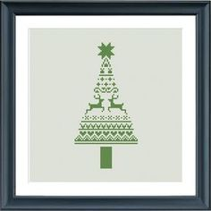 christmas cross stitch pattern modern christmas tree by Happinesst