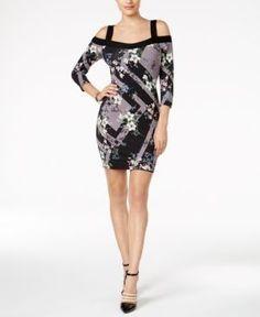 Guess Mixed-Print Cold-Shoulder Dress - Gray XL