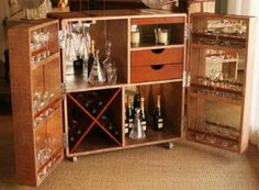 Two Door Leather Trunk Bar, Turn an old fashioned trunk into a portable bar?