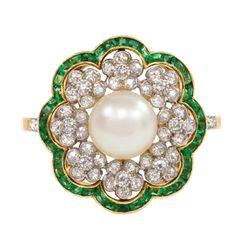 Edwardian Pearl Emerald Diamond Flower Cluster Ring
