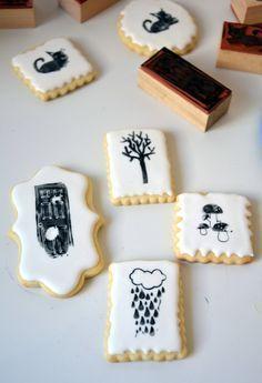Técnica para decorar galletas con sellos. How to decorate cookies using stamps.