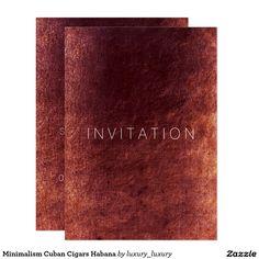 Minimalism Cuban Cigars Habana 13 Cm X 18 Cm Invitation Card