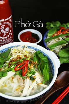 Phở Gà (Vietnamese Chicken Noodles Soup) Hi guys! I'm finally sharing Pho Ga recipe with you all! Thank you so much requesting and patiently waiting! Pho is one of most popular Vietnamese noodle soup, and you probably had it from a restaurant or heard a Vietnamese Recipes, Vietnamese Noodle, Asian Recipes, Vietnamese Restaurant, Chicken Pho, How To Cook Chicken, Pho Soup Recipe Chicken, Chicken Noodles, Asian Noodles