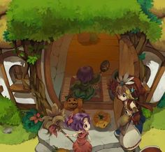 """Legend of Mana, Lil' Cactus Diary Entry #2 - Tiny Sorcerers: """"Today I heard a story about two little sorcerers trying to become the kings of this world. But pumpkins? They used pumpkins? I hope they're still yummy."""""""