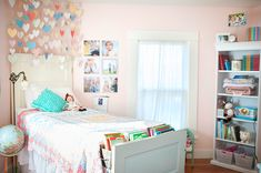 Cute ideas for a little girls' room and hanging heart tutorial + pattern from Karen Russell.