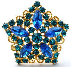 Eisenberg Ice Blue Rhinestone Star Brooch Pin