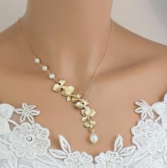 Gold Orchid Necklace   Pearl Necklace Wedding by LadyKJewelry