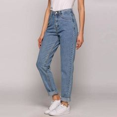 Special Discount - Mom jeans Vintage high waist jeans women ladies boyfriend jeans for womens jeans denim light blue korean jeans mujer mom fit- Loose Jeans Outfit, Jeans Casual, Jeans Style, Loose Pants, Trendy Jeans, Hijab Casual, Ootd Hijab, Pants Outfit, Jeans Fit