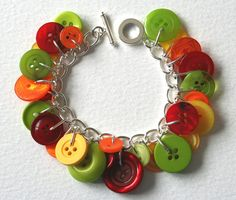 Button Bracelet Opal Fruits Bright Candy Colors by Mrs Gibson.