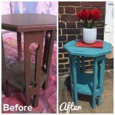 Before and After pictures of this little stand done in our Teal River Junk monkey chalky paint!