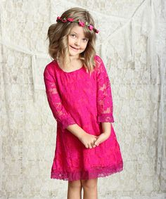 Love this Magenta Vintage Lace Shift Dress - Infant & Toddler on #zulily! #zulilyfinds