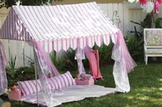 A PVC party tent idea for the girls.