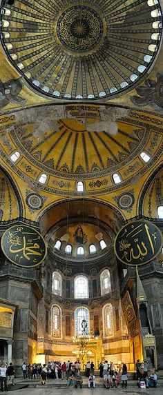 Interior view of the Hagia Sophia, showing Islamic elements on the top ofthe main dome, Turkey. The Hagia Sophia originally built as a Christian church by Roman Emperor Justinian I in Constantinople (aka Istanbul). Architecture Antique, Islamic Architecture, Art And Architecture, Byzantine Architecture, Amazing Architecture, Beautiful Buildings, Beautiful Places, Amazing Places, The Places Youll Go