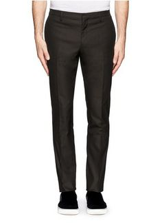 LANVIN - Straight-leg flat front pants | Blue and Green Casual Pants Pants & Shorts | Menswear | Lane Crawford - Shop Designer Brands Online