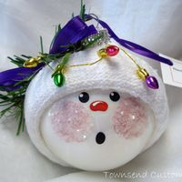 Snowman Christmas Ornament Tree Bulb Hand Painted Glass Snowball face Themed with Christmas Lights - Personalized