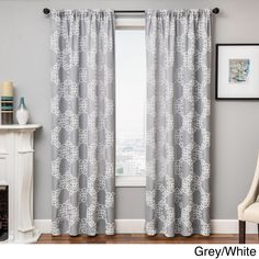 Softline Loren Embroidered Rod Pocket Curtain Panel