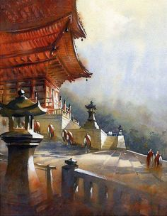 """""""Kiyomizu Temple 2 - Kyoto"""" (2011) By thomas w. schaller - watercolor artist, American Watercolor Artist and Architect watercolor; 22 x 18 in. Private Collection Used as cover art for Decor Magazine - Norway"""