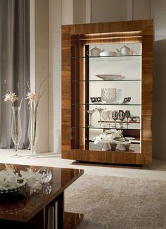 Storage Cabinet Glass Shelves With Mirrored Back Wine Glass Shelf, Floating Glass Shelves, Glass Shelves Kitchen, Glass Furniture, Cabinet Furniture, Home Decor Furniture, Glass China Cabinet, Crockery Cabinet, China Cabinets