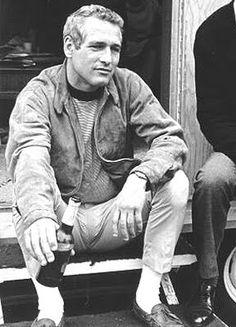 Paul Newman ivy style; leather mocassins, white socks, khaki chinos, navy striped breton sweater, cotton bomber jacket