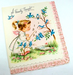 Vintage Greeting Card Thinking of You Little by AntiquesGaloreGal, $3.00