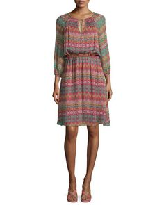 Parry+Printed+Silk+Blouson+Dress,+Coromandel+by+Diane+von+Furstenberg+at+Neiman+Marcus.
